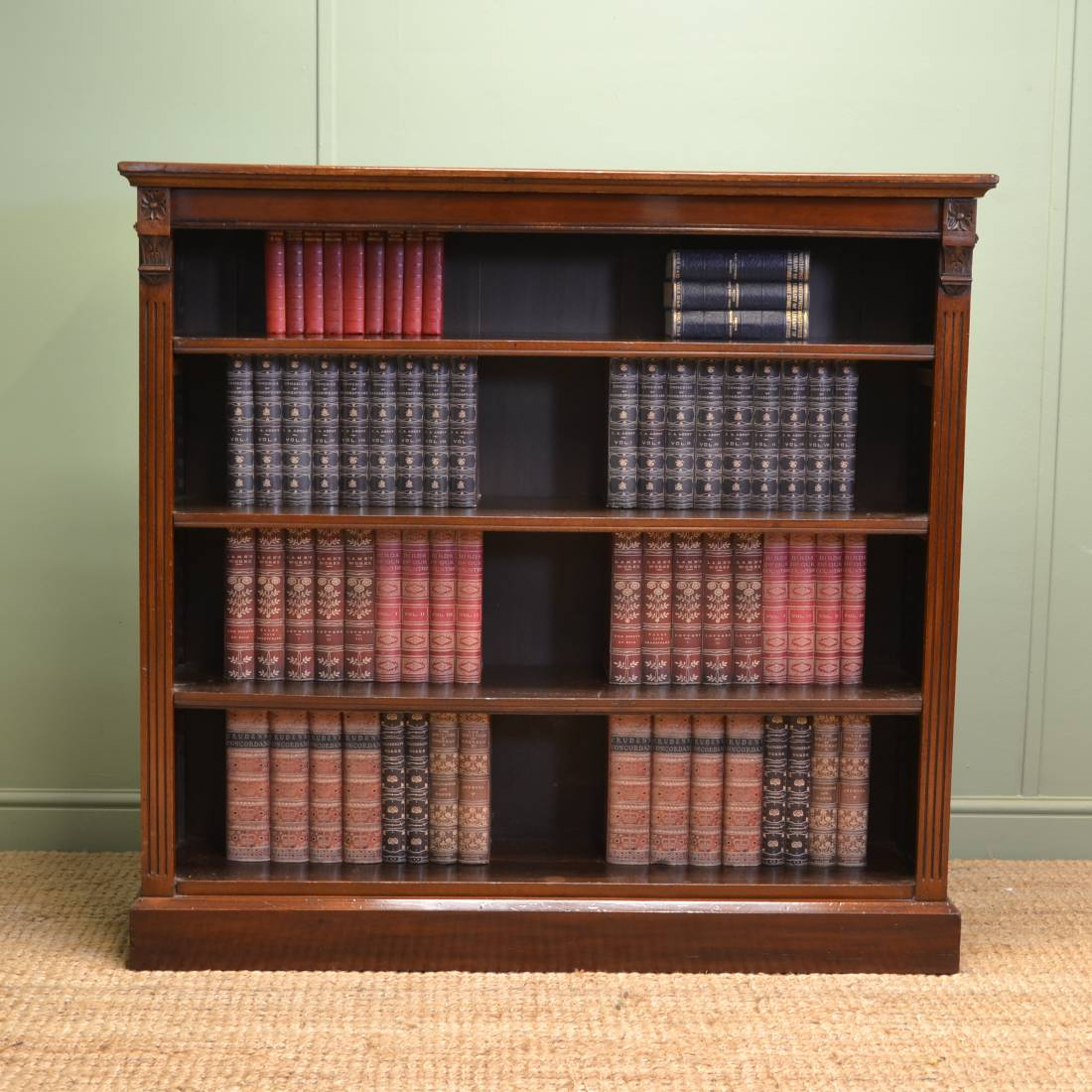 Quality Victorian Walnut Antique Open Bookcase Antiques