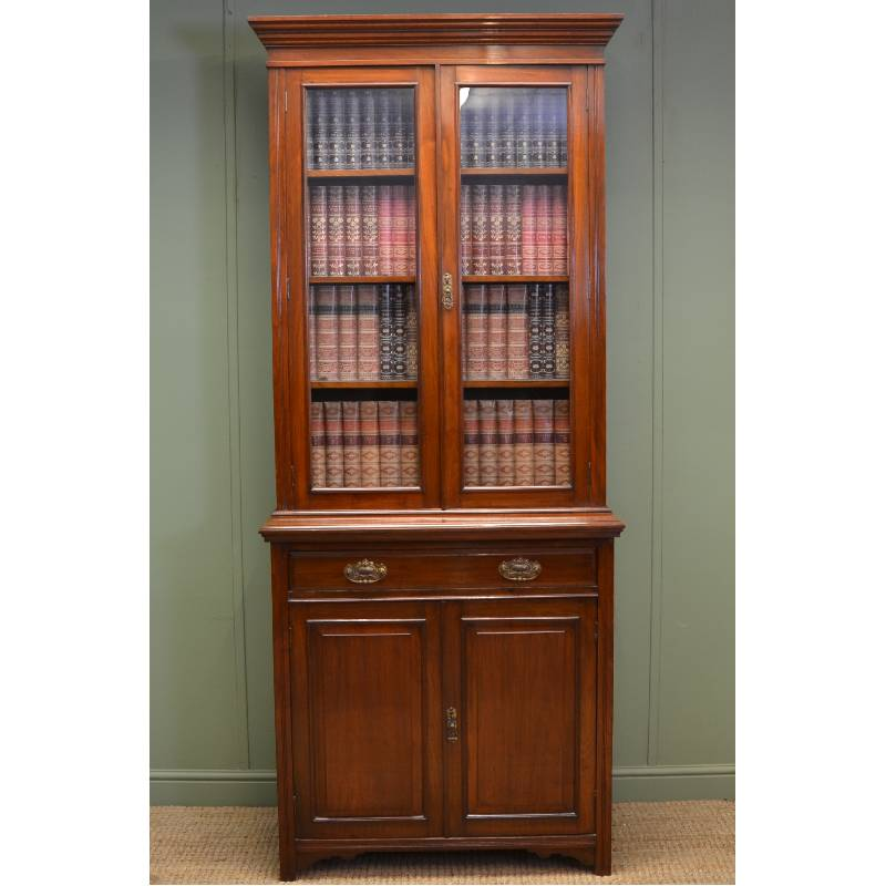 Stunning Maple & Co Victorian Antique Walnut Bookcase On Cupboard