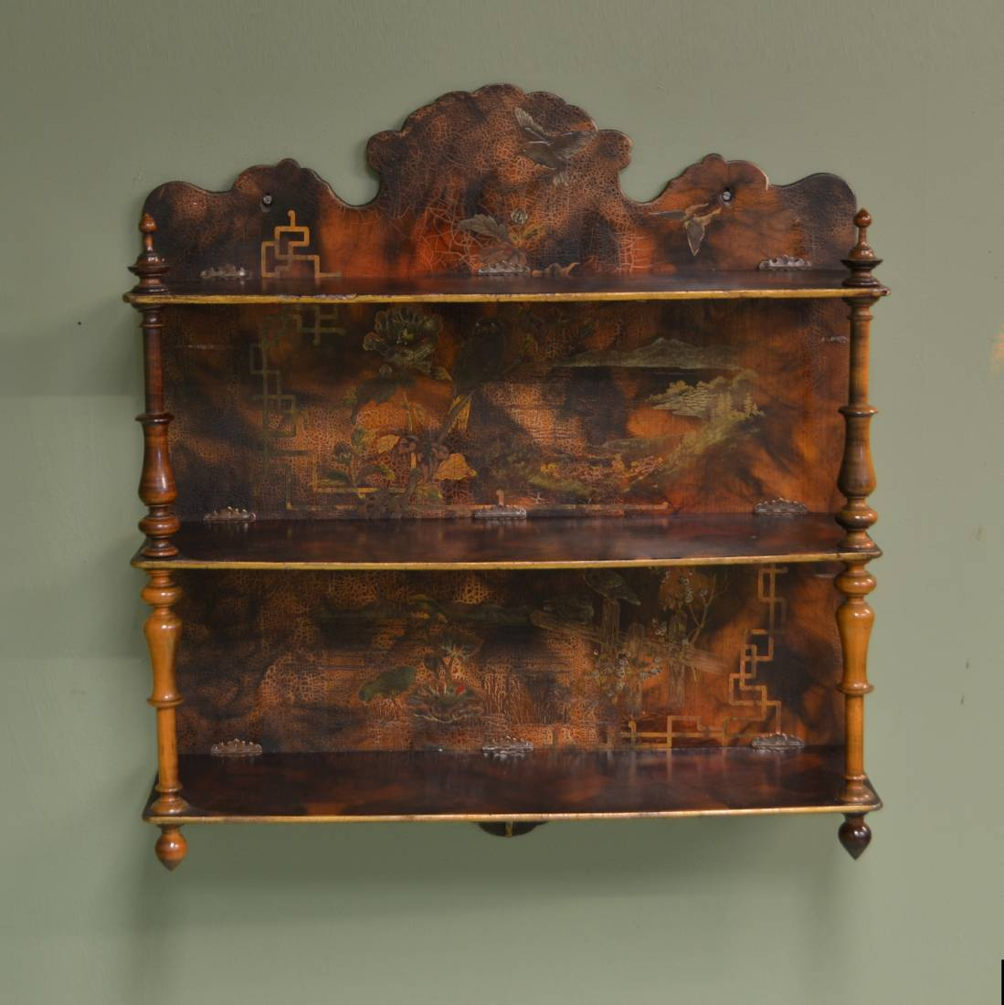 Unusual victorian painted wall hanging antique display shelf antiques world Display home furniture auction melbourne