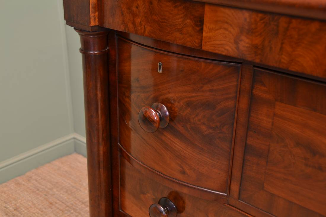 Magnificent Quality Figured Mahogany Victorian Antique Scottish Chest Of Drawers