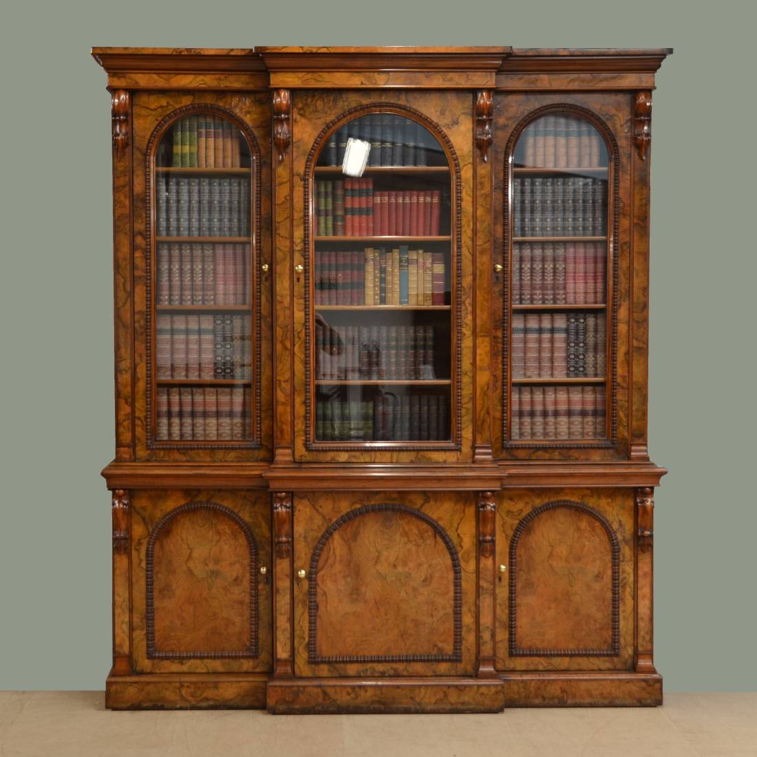 Magnificent Victorian Break Front Burr Walnut Antique Library Bookcase