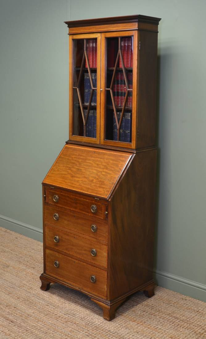 unusual edwardian inlaid mahogany bureau bookcase of small proportions antiques world. Black Bedroom Furniture Sets. Home Design Ideas