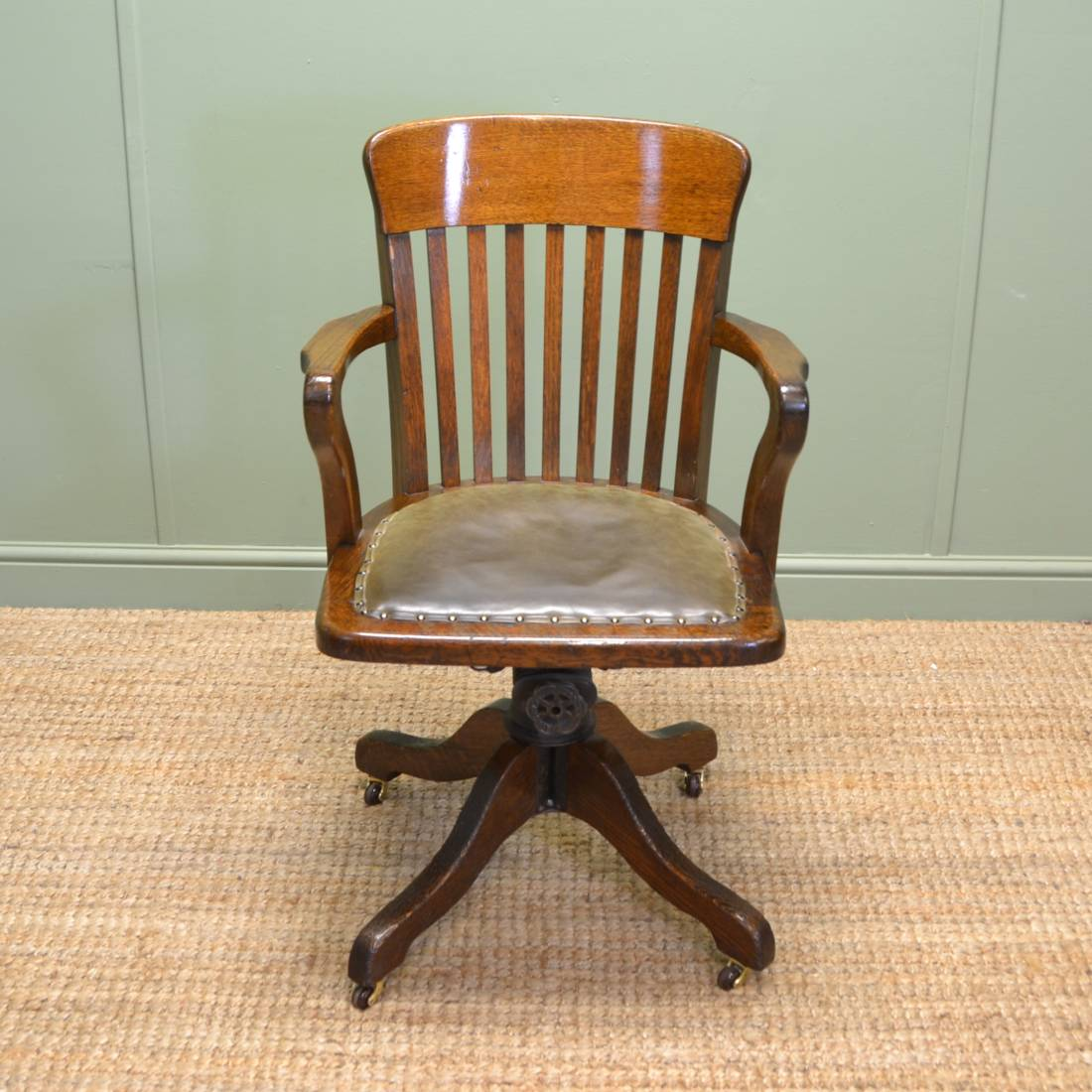 quality edwardian oak antique swivel office chair