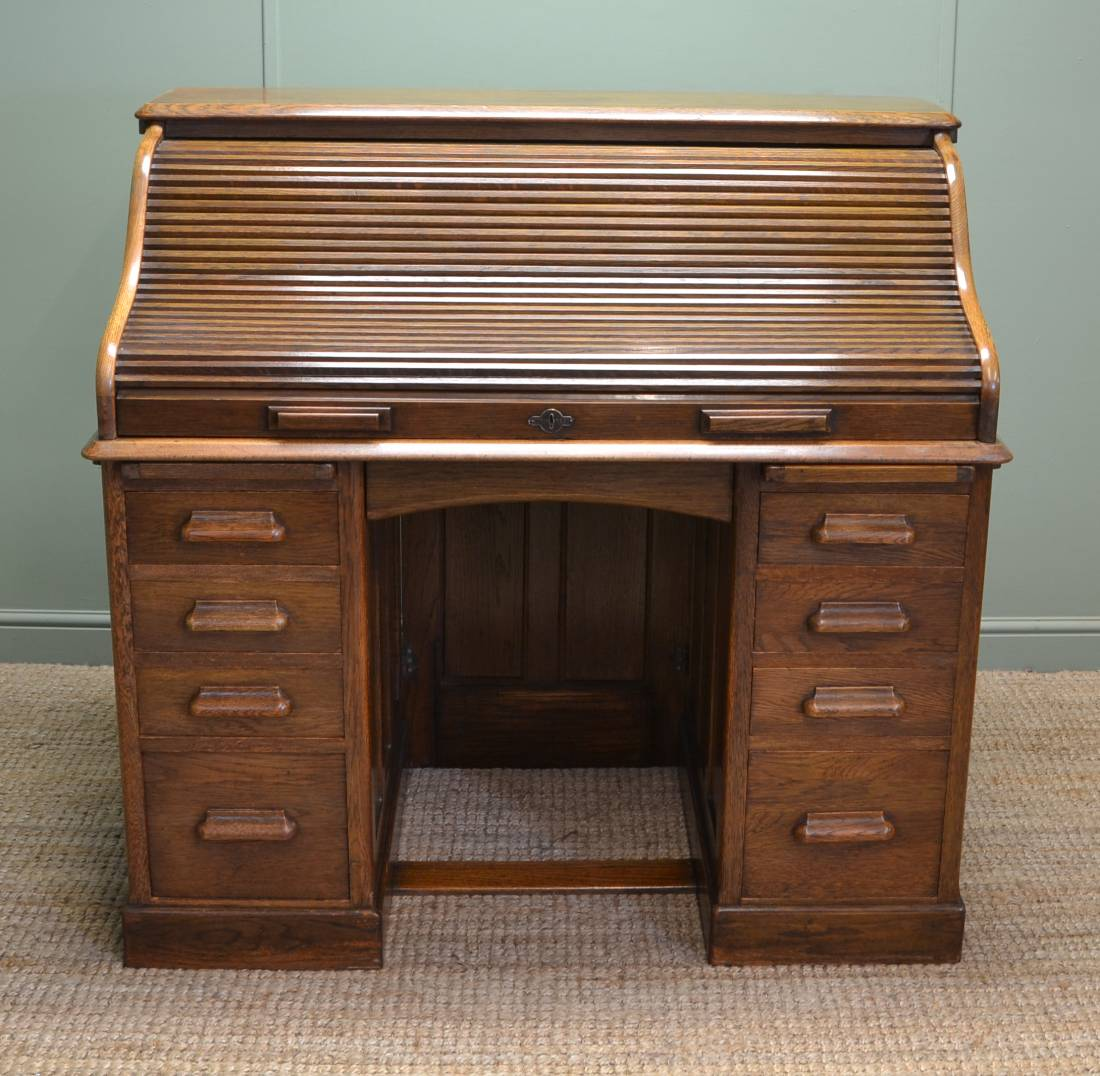 Quality Oak Edwardian Tambour Front / Roll Top Antique Desk