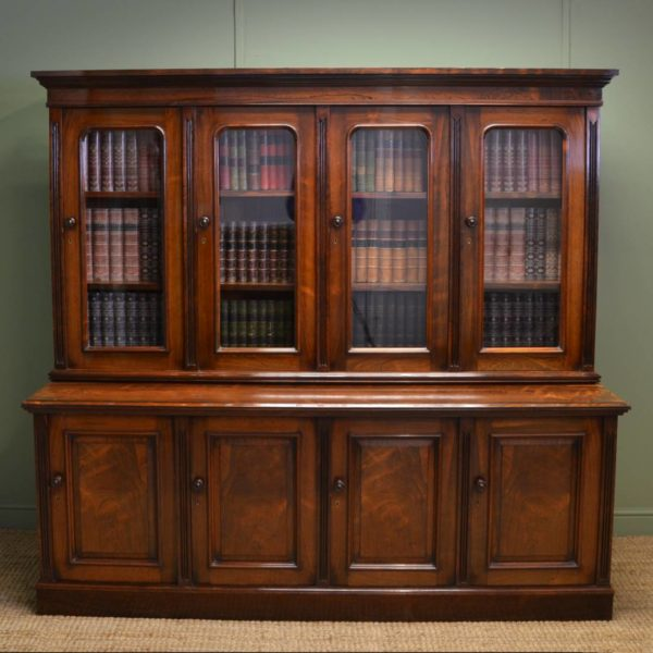 Spectacular Figured Rosewood Victorian Antique Library Bookcase Of Small Proportions - H Ogden.