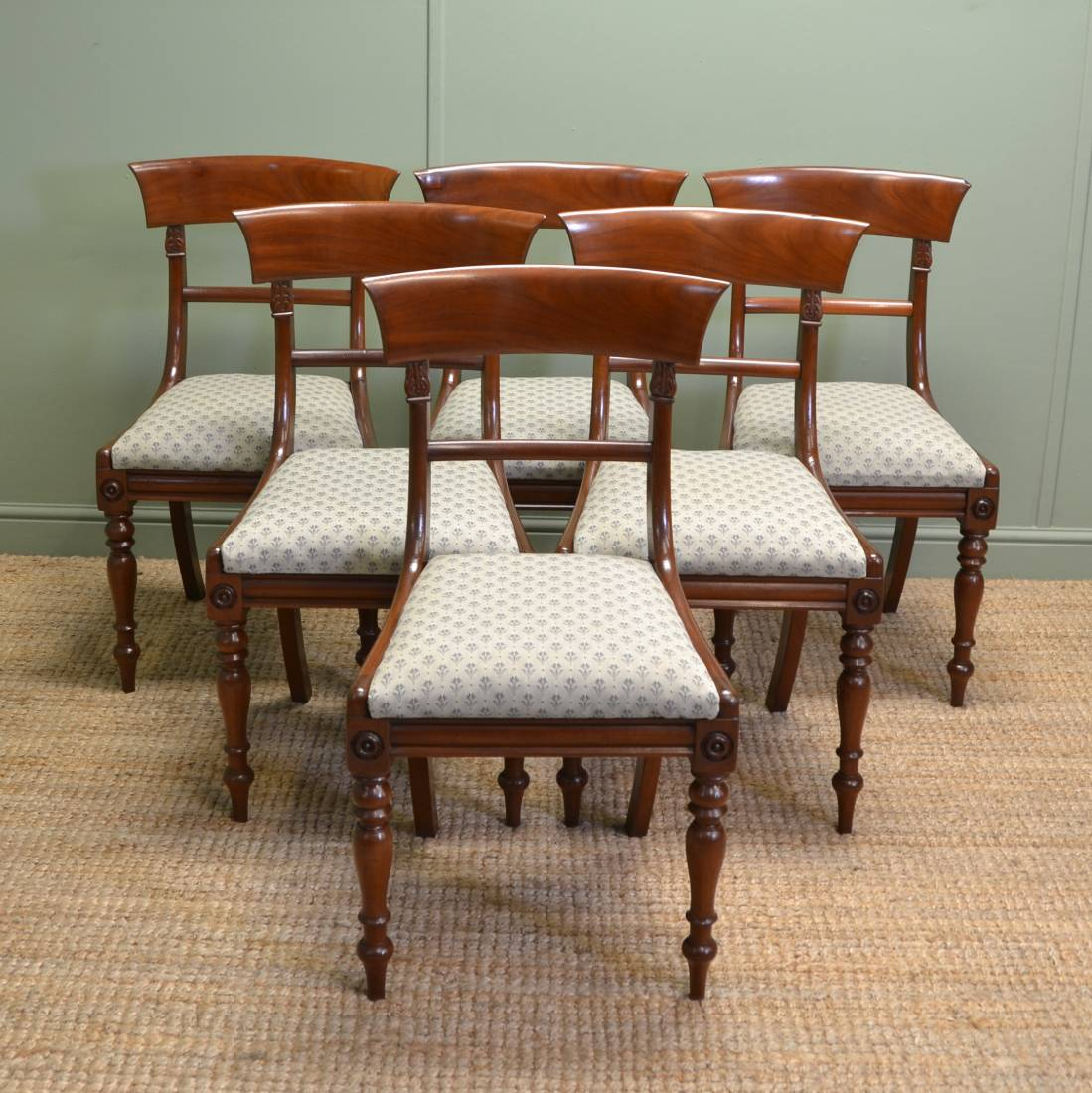 Fine set of regency mahogany antique dining chairs