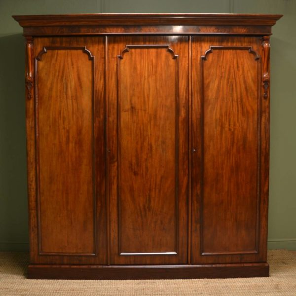 Spectacular Quality Figured Mahogany Early Victorian Antique Triple Wardrobe