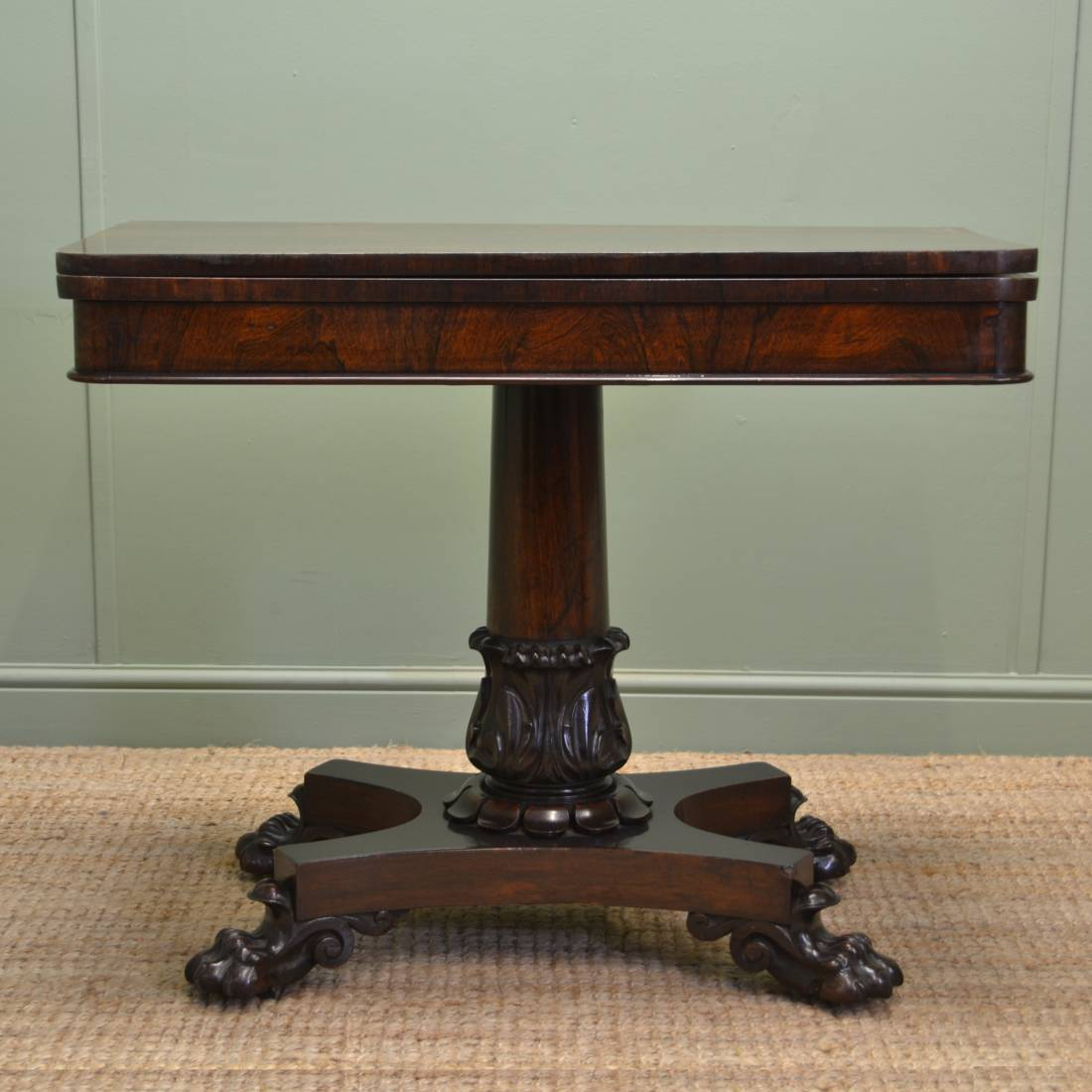 Rosewood Regency Antique Games / Console Table With Exquisite Lion Paw Feet