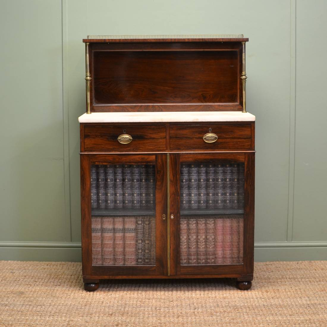 Fine Quality Regency Rosewood Antique Glazed Chiffonier / Bookcase Cabinet