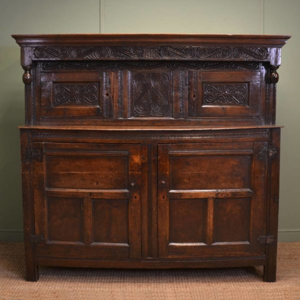 Magnificent Country Oak 17th Century Antique Court Cupboard