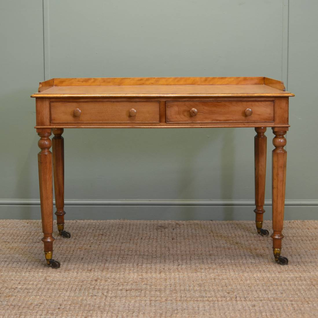 Elegant Quality Satin Birch Writing Table by C Hindley, Late Miles & Edwards
