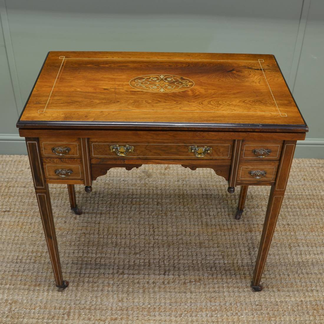 Unusual inlaid rosewood antique victorian writing desk