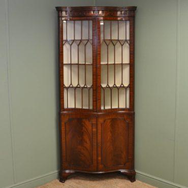 Unusual Serpentine Edwardian Mahogany Antique Glazed Floor Standing Corner Cupboard