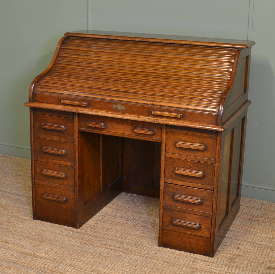 Edwardian Oak Antique Roll Top Desk