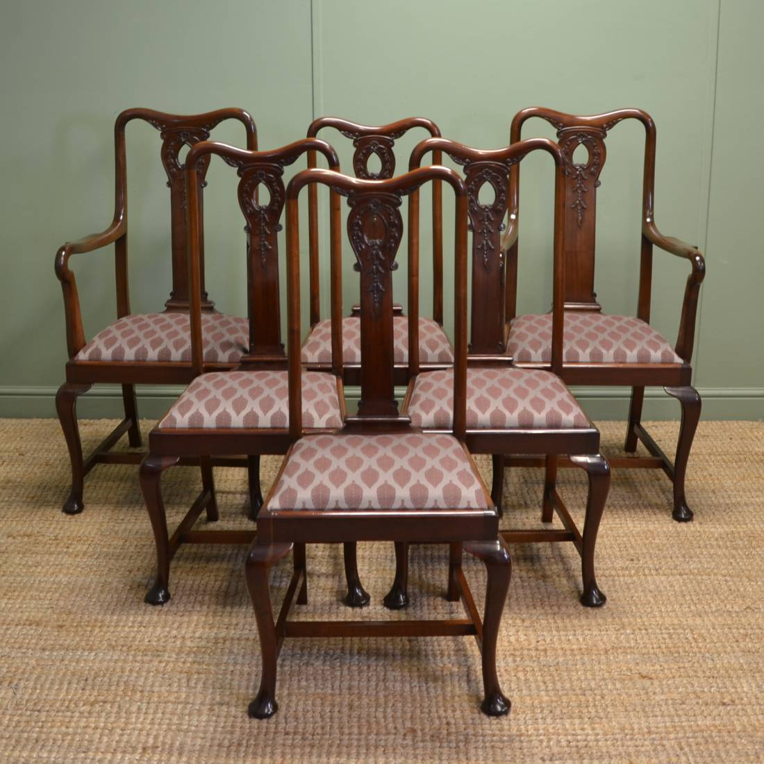Antique Mahogany Dining Room Furniture: Stunning Set Of Six Solid Mahogany Antique Edwardian