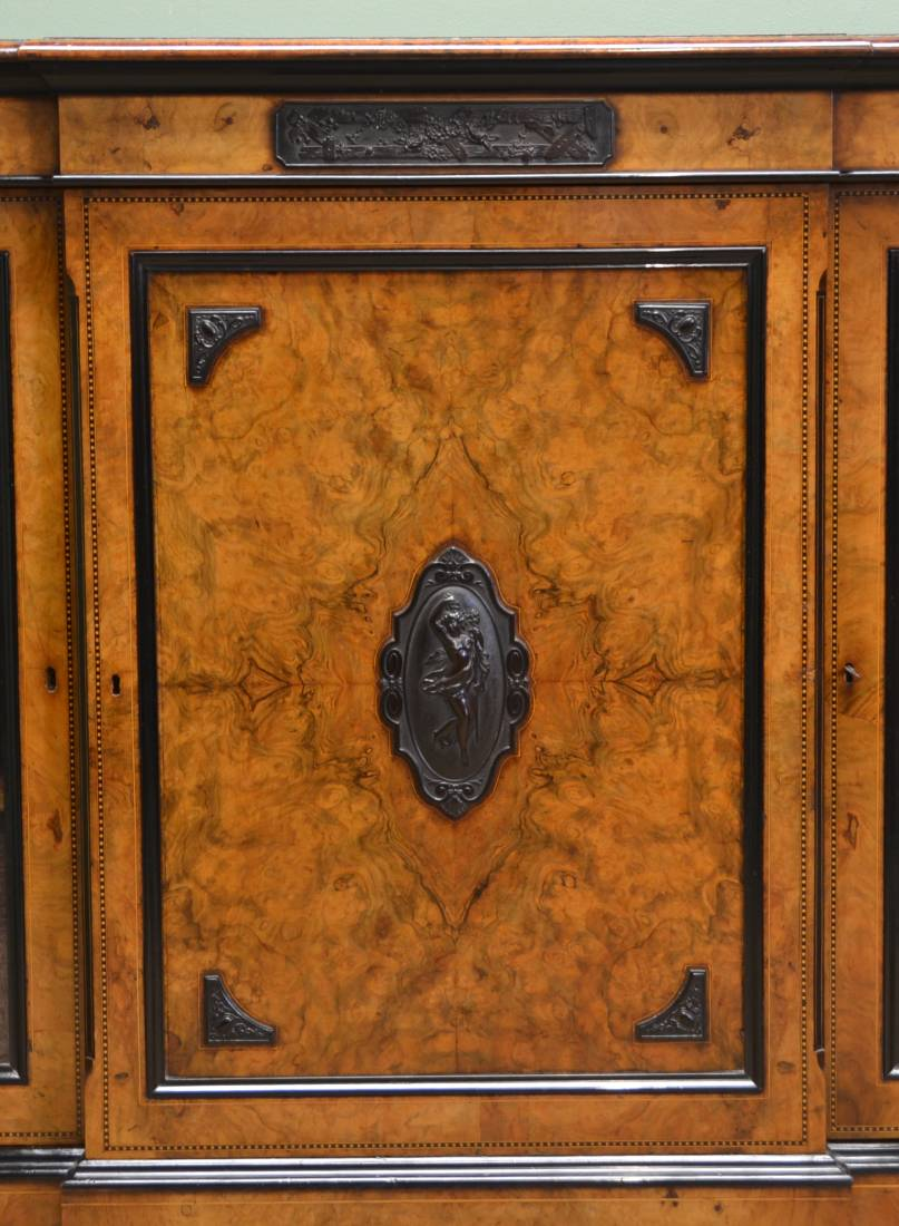 Spectacular Lambs Of Manchester Burr Walnut Antique Credenza
