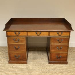 Charming Country House Victorian Walnut Antique Pedestal Desk