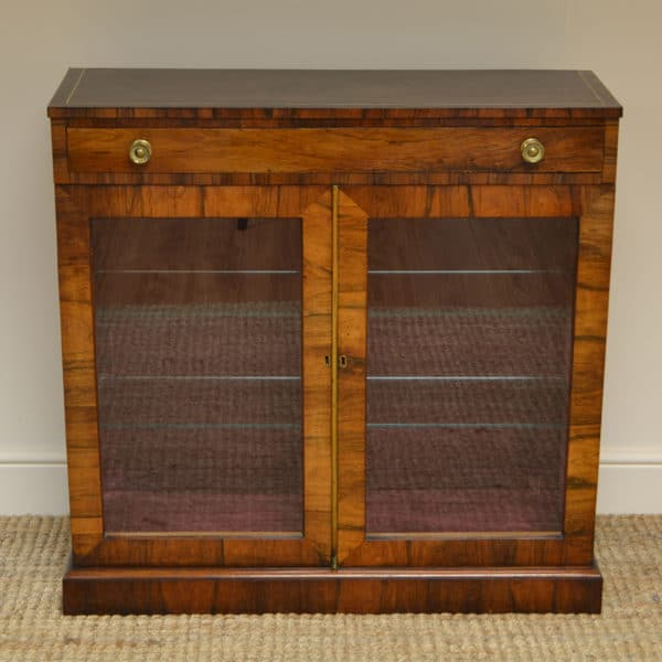 Fine Quality Regency Rosewood Antique Glazed Display Cabinet / Bookcase