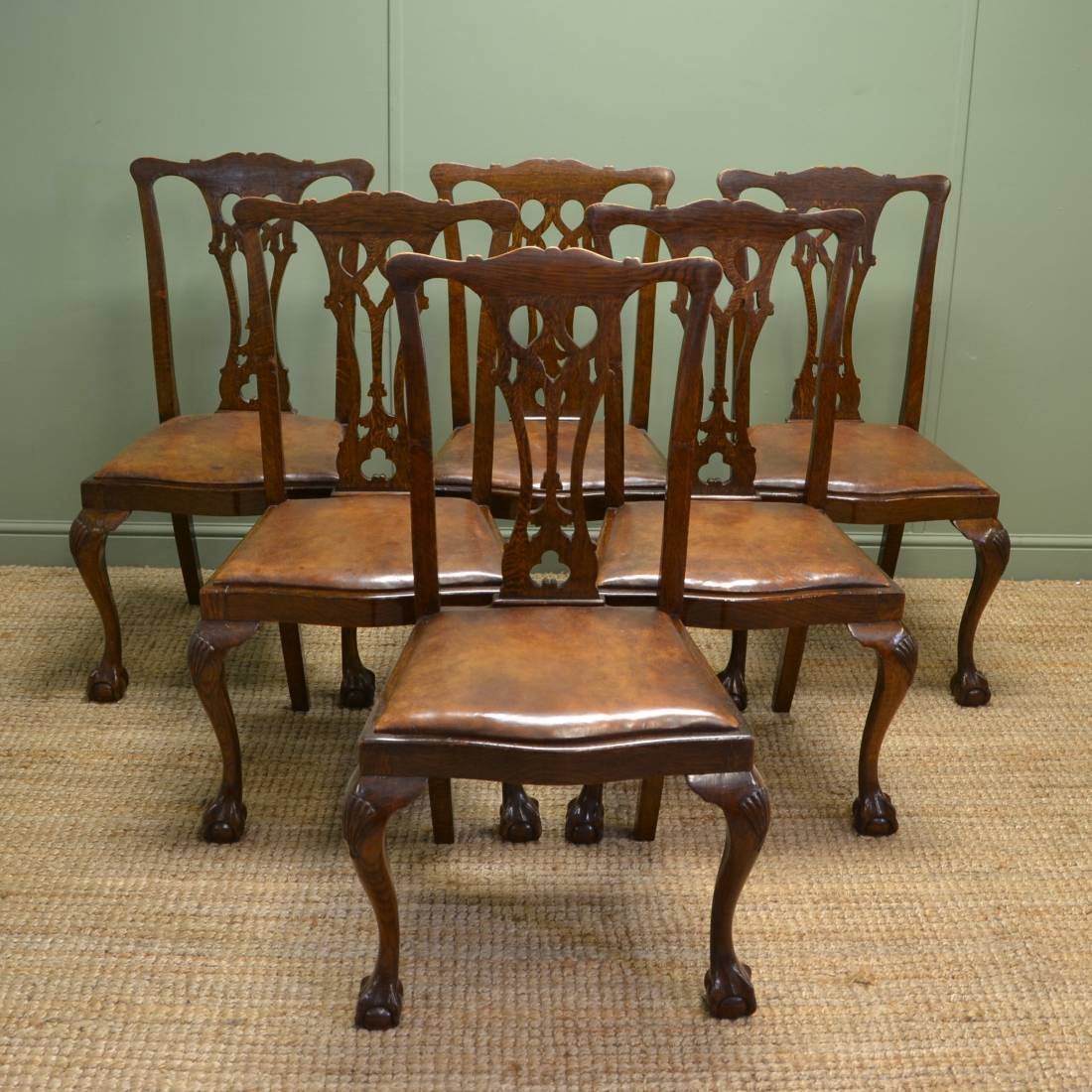 Set of six chippendale design edwardian oak dining chairs for Oak dining chairs