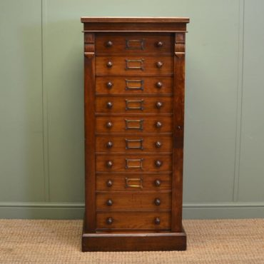 Quality Victorian Tall Oak Antique Wellington Chest