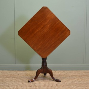 Diamond Topped Georgian Mahogany Antique Tripod Occasional Table