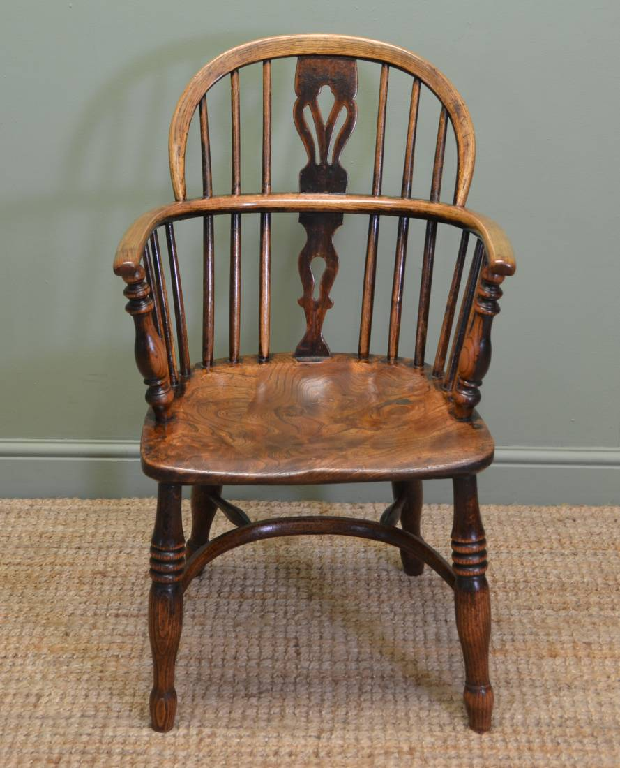 Country Georgian Antique Oak And Elm Windsor Chair