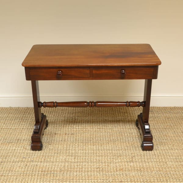 Magnificent Quality Victorian Figured Mahogany Antique Writing Table / Library Table
