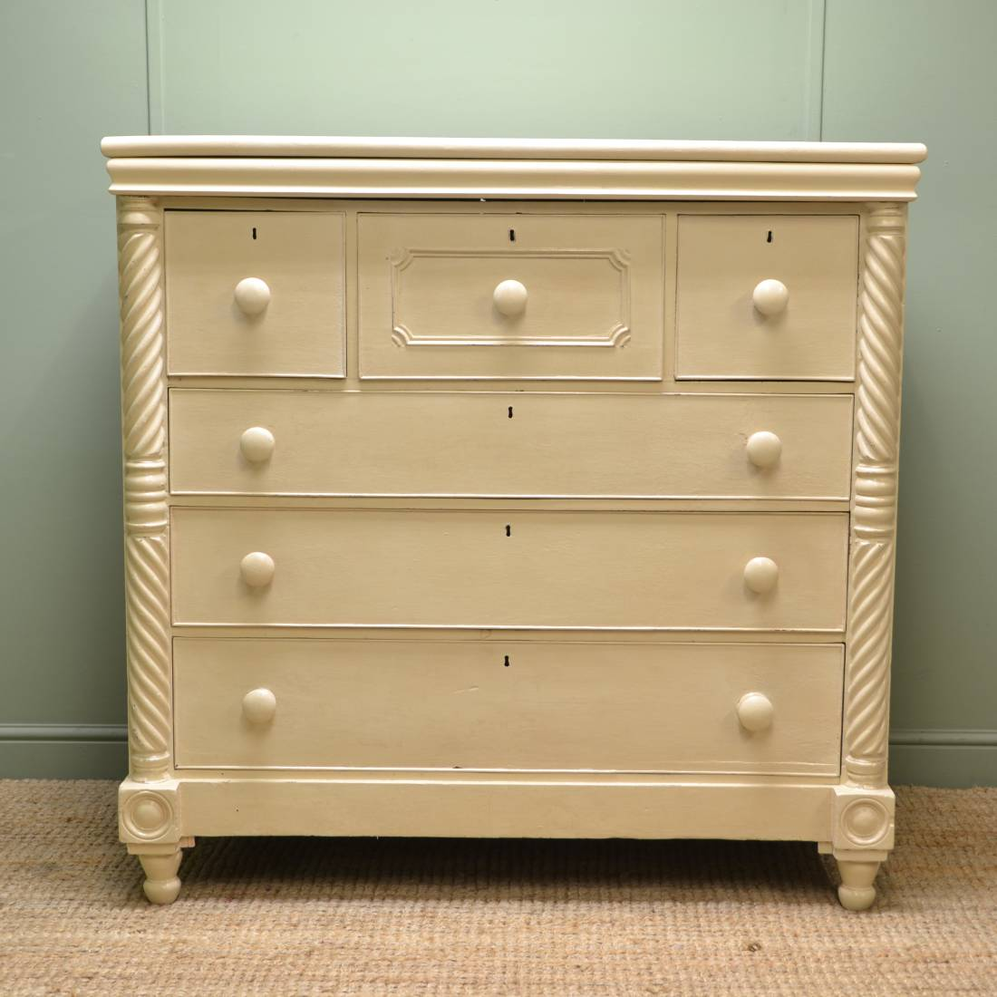 Characterful Victorian Large Painted Antique Chest Of Drawers
