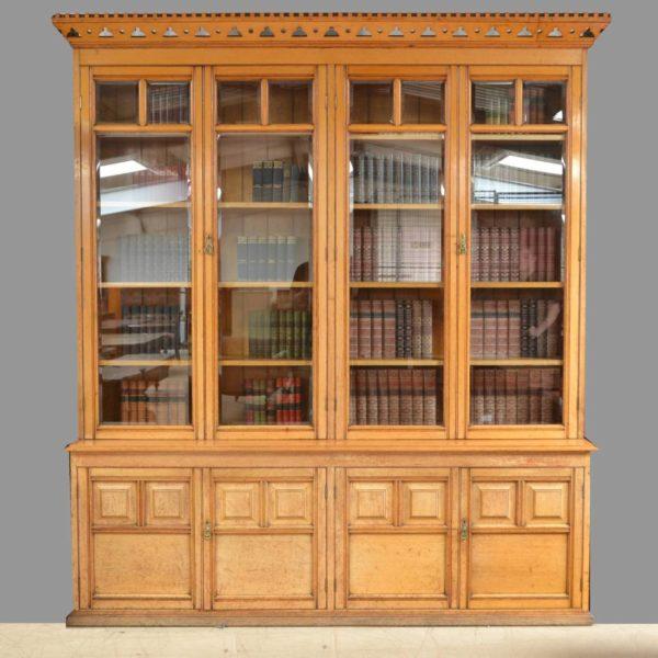 Spectacular Huge Solid Oak Antique Arts And Crafts Victorian Library Bookcase / Dresser