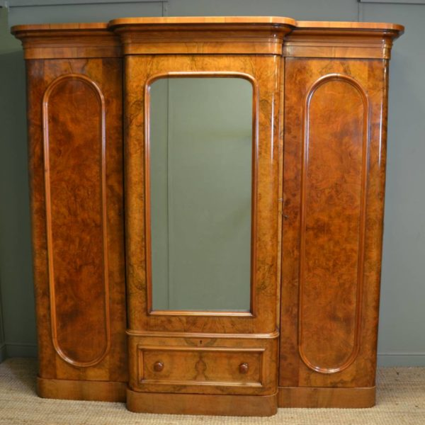 Spectacular Quality Figured Burr Walnut Antique Triple Wardrobe