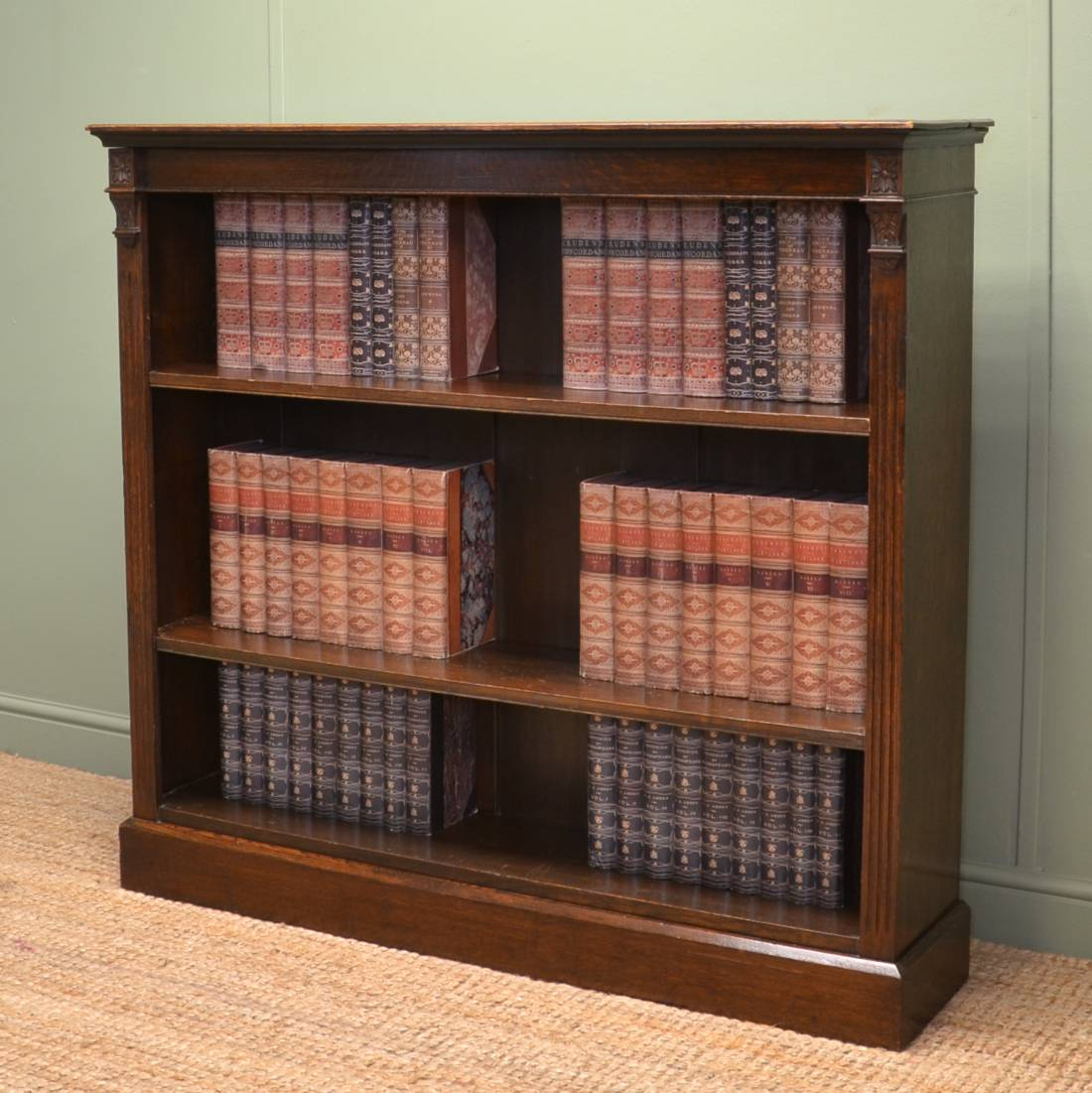 Victorian Oak Antique Open Bookcase