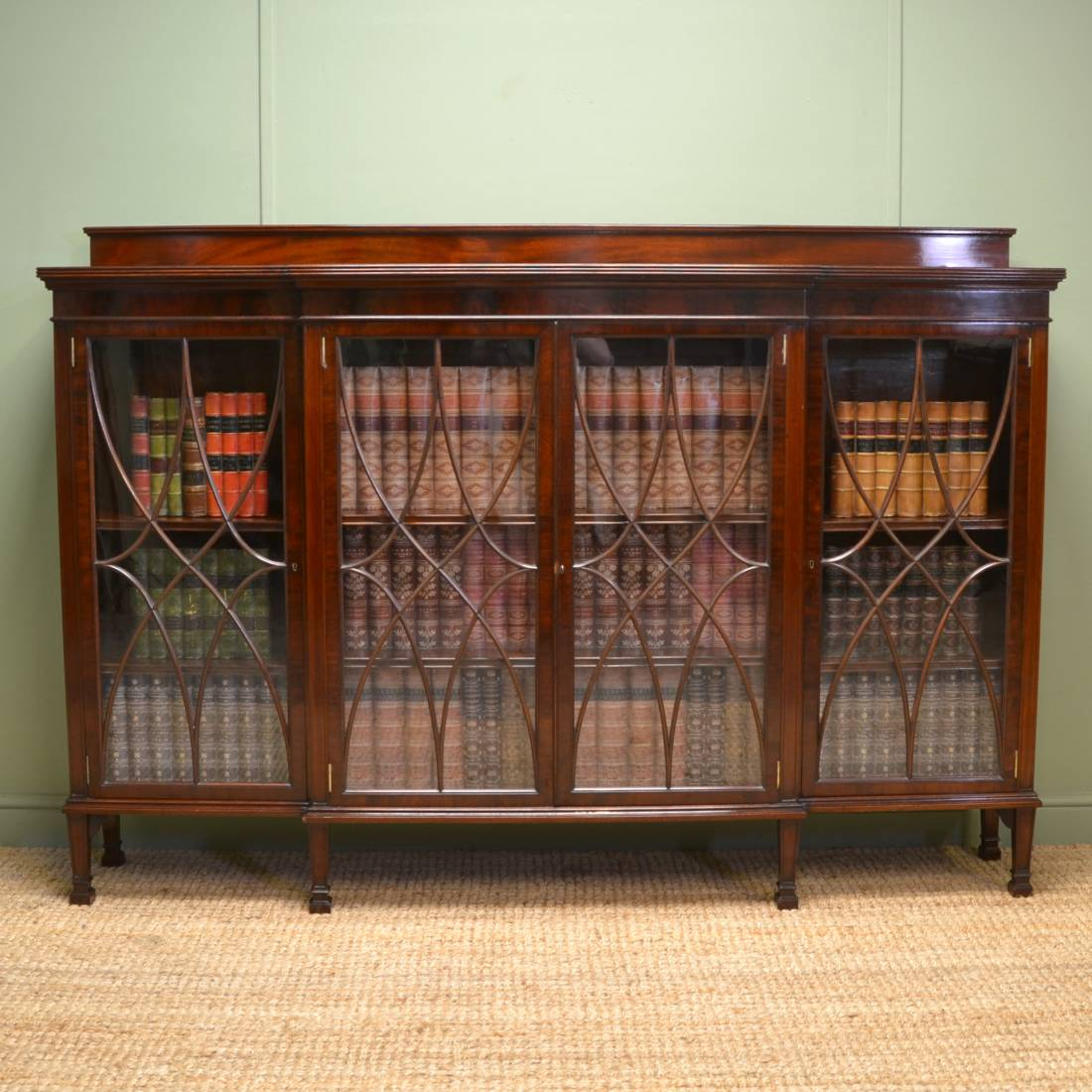 Spectacular Wylie & Lochhead Edwardian Break fronted Mahogany Antique Bookcase