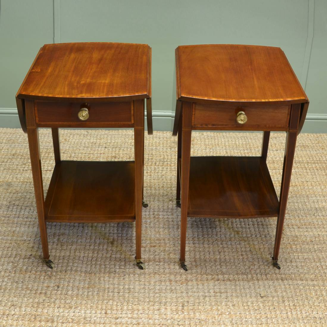 Occasional Tables: Unusual Pair Of Edwardian Inlaid Antique Walnut Sofa