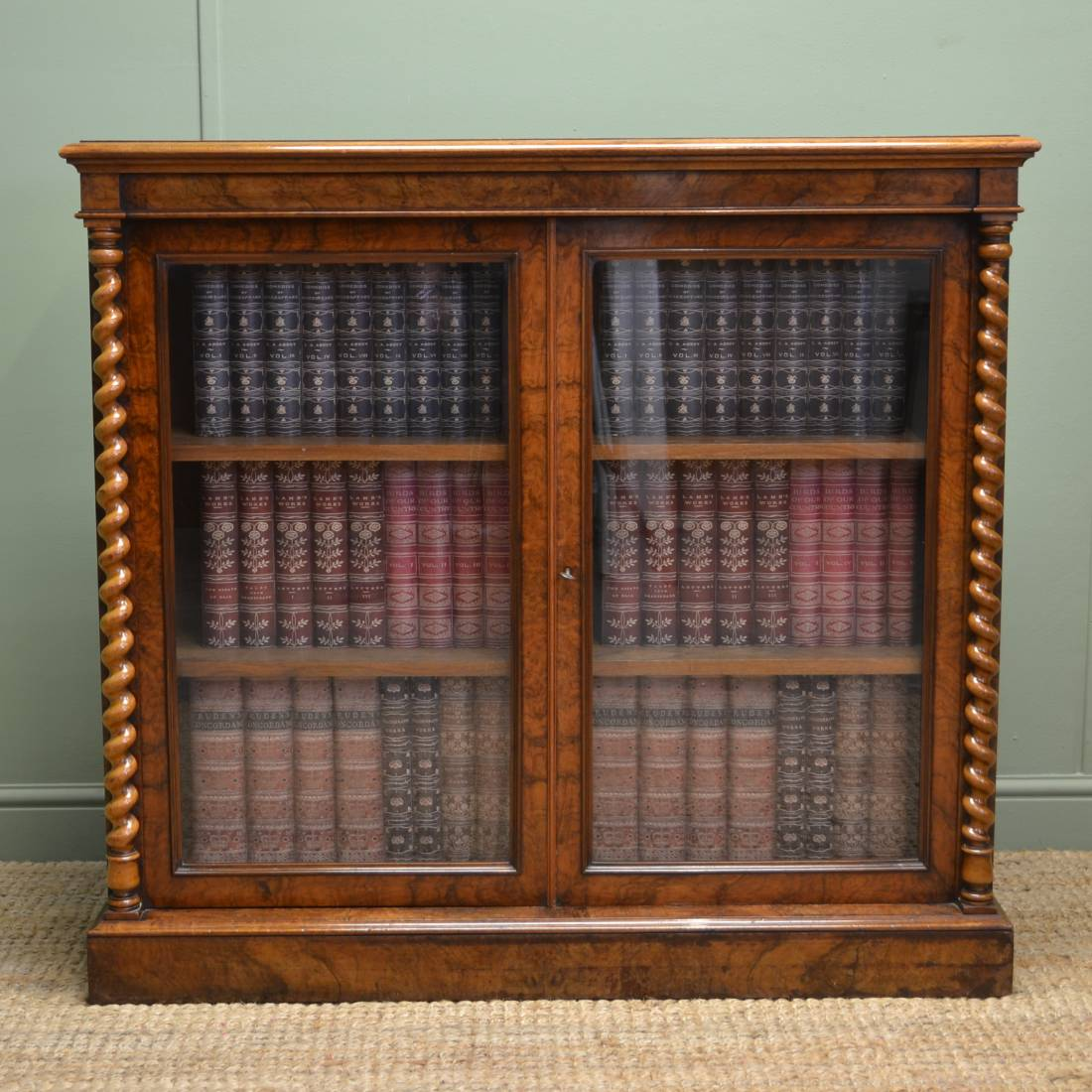 Figured Burr Walnut Victorian Antique Display Cabinet