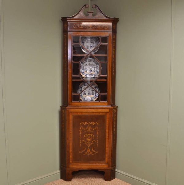 Beautifully Inlaid Edwardian Antique Floor Standing Glazed Corner Cupboard