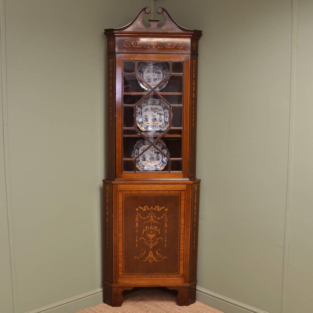 Beautifully Inlaid Edwardian Antique Glazed Corner Cupboard