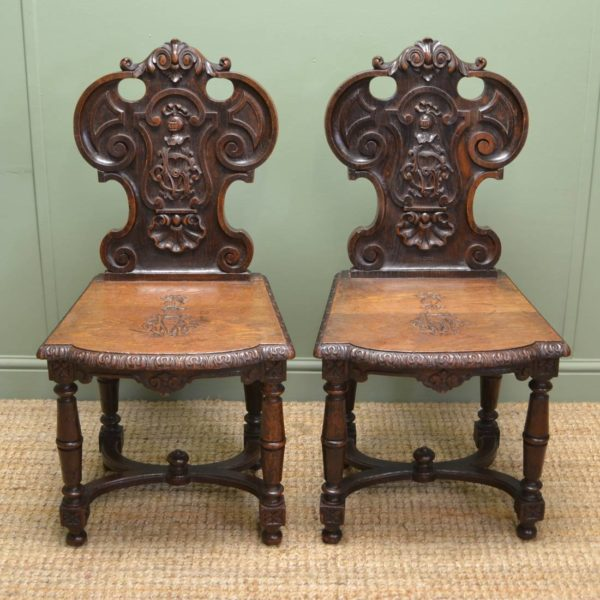 Spectacular Pair Of Country Victorian Carved Oak Antique Hall Chairs