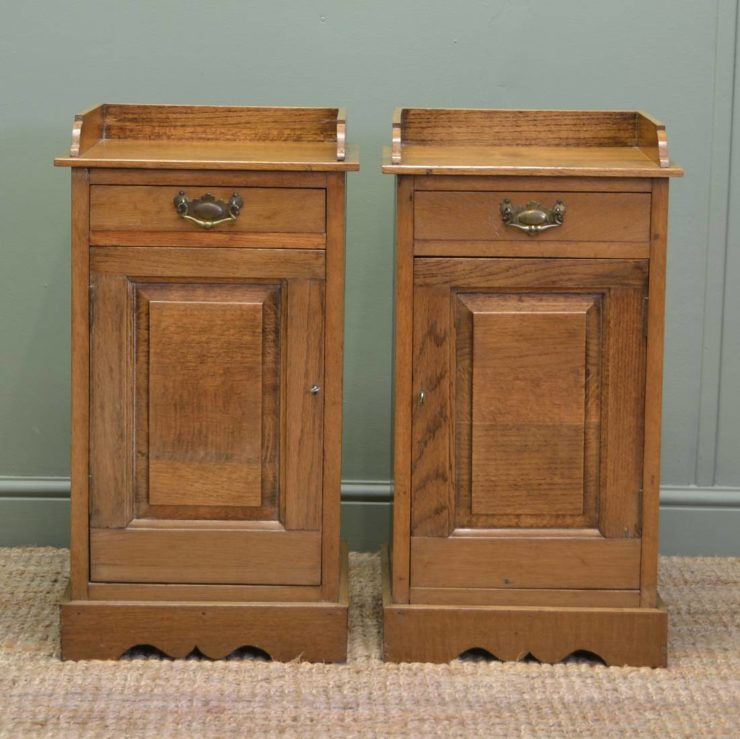 Pair Of Antique Edwardian Oak Bedside Tables