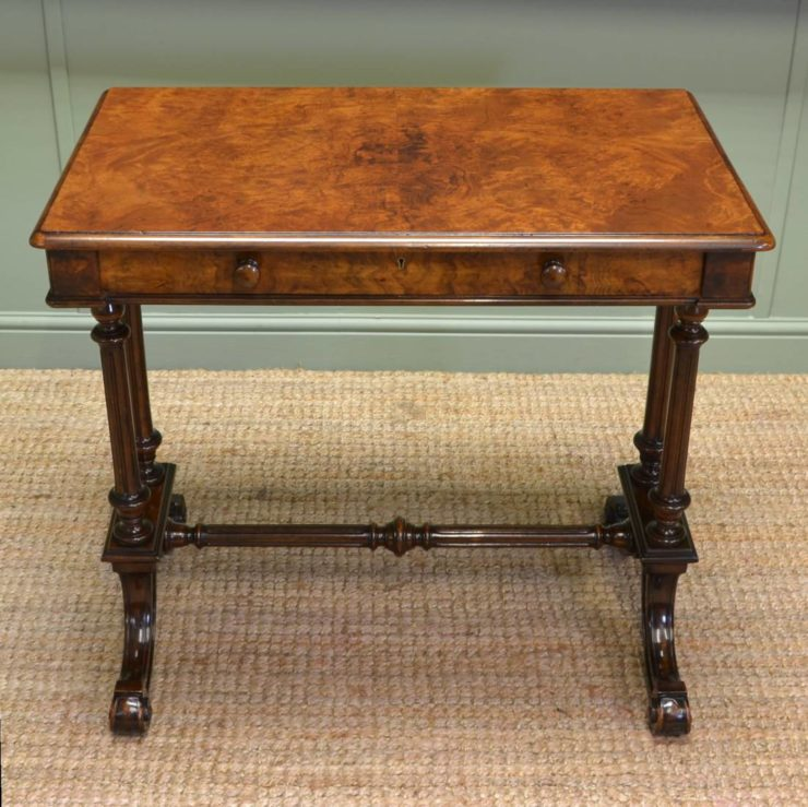 Magnificent Quality Victorian Figured Burr Walnut Antique Side / Writing Table