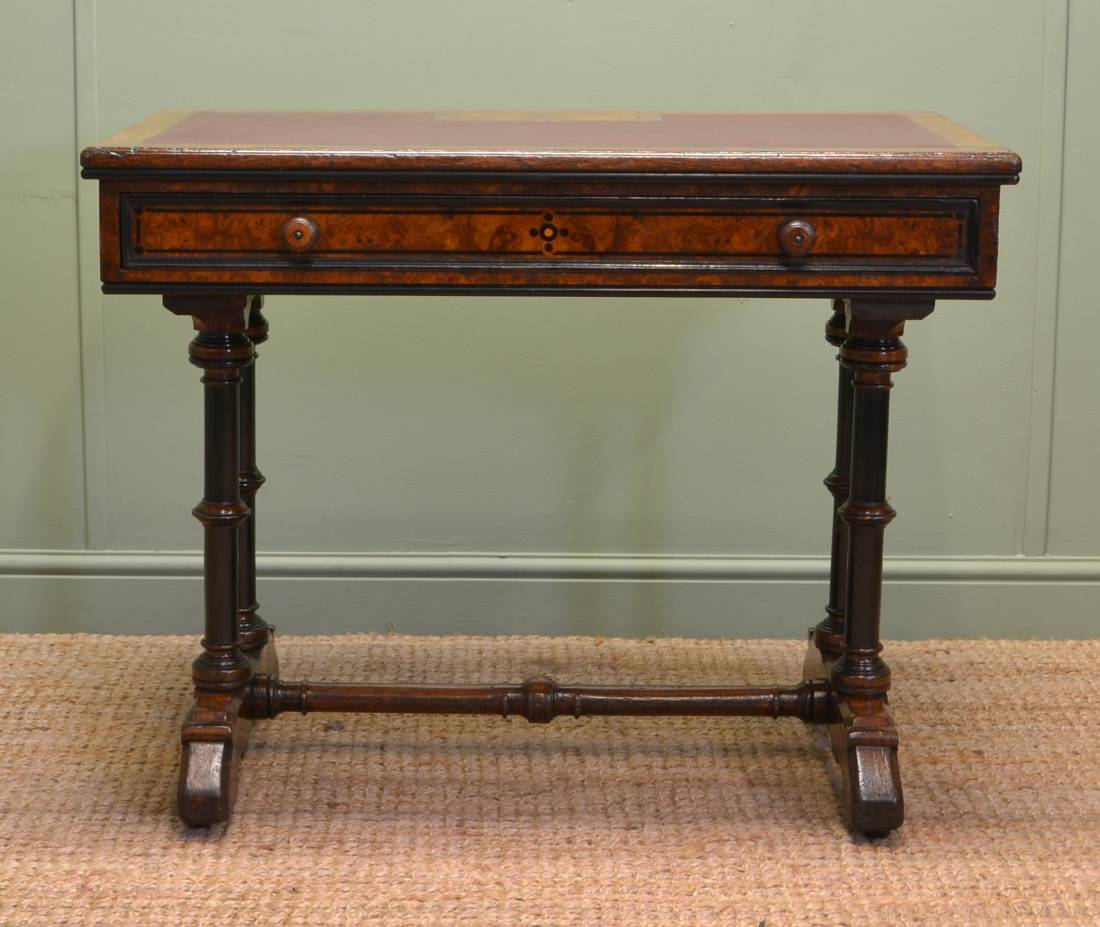 Unusual Lambs Of Manchester Figured Pollard Oak Antique Victorian Writing Table