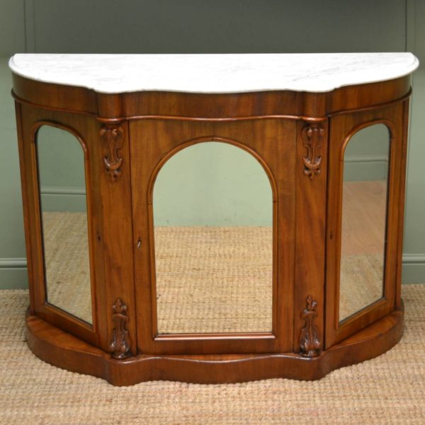 Quality Walnut Antique Victorian Mirror Fronted Credenza
