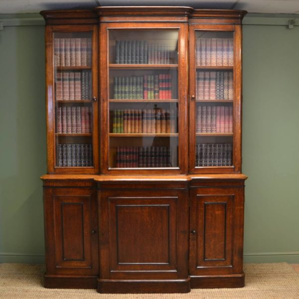 Large Victorian Oak Antique Break fronted Library Bookcase