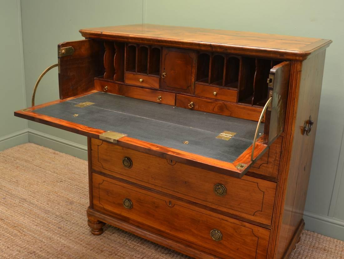 Unusual chinese import padauk antique secretaire campaign for Seamans furniture