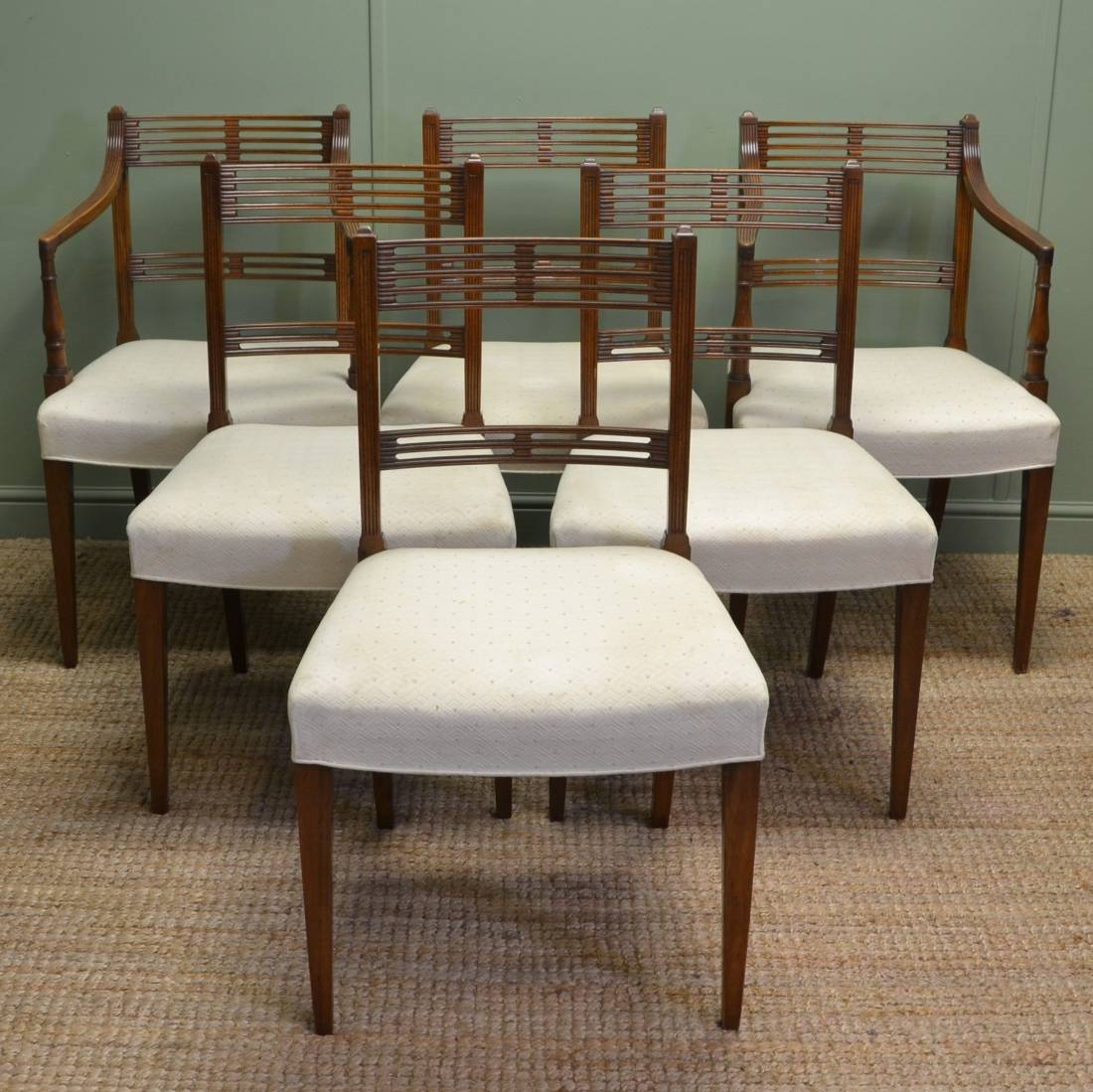 Antique Mahogany Dining Room Furniture: Set Of Six Hepplewhite Design Antique Mahogany Dining