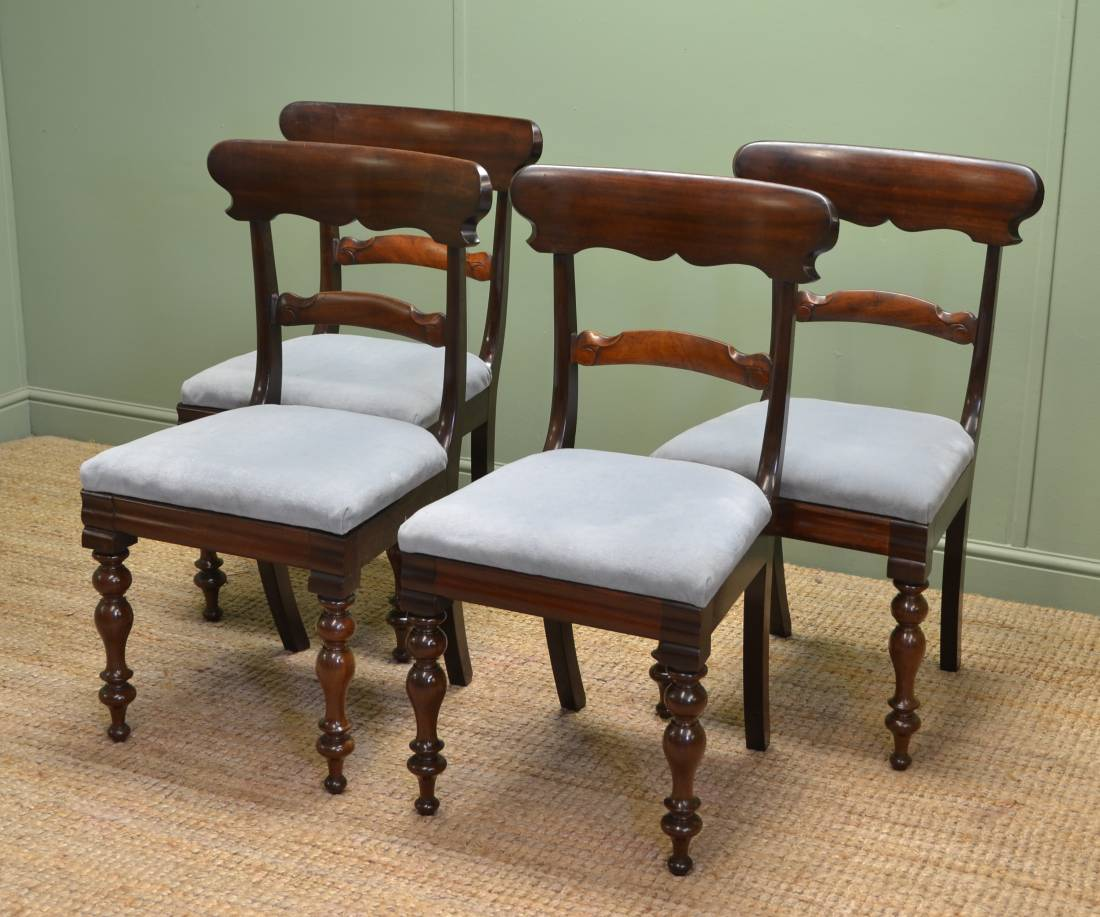 Quality Dining Furniture: Quality Set Of Four William IV Antique Mahogany Dining