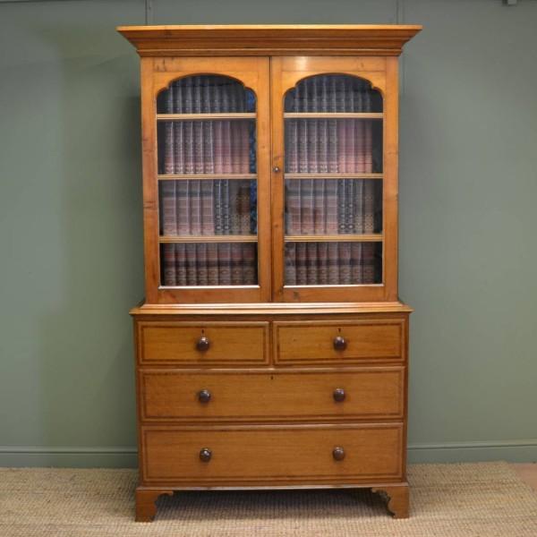 Quality Georgian Golden Oak Antique Glazed Bookcase On Chest