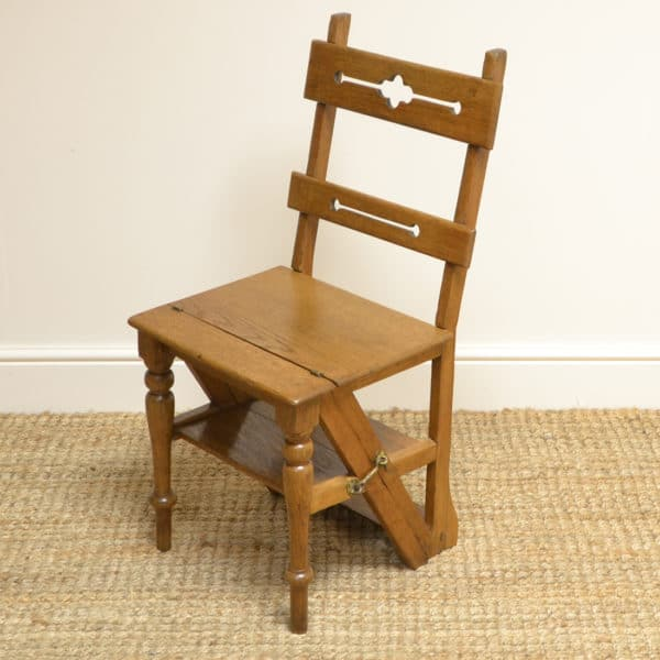 Unusual Victorian Arts And Crafts Metamorphic Library Steps / Chair