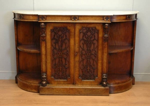 superlative quality Victorian figured Walnut antique credenza, circa 1870, has the original cabinet-makers stamp belonging to J. Yabsley's of Plymouth.