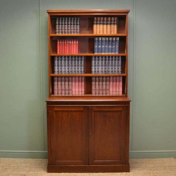 Quality Victorian Mahogany Antique Open Bookcase On Cupboard