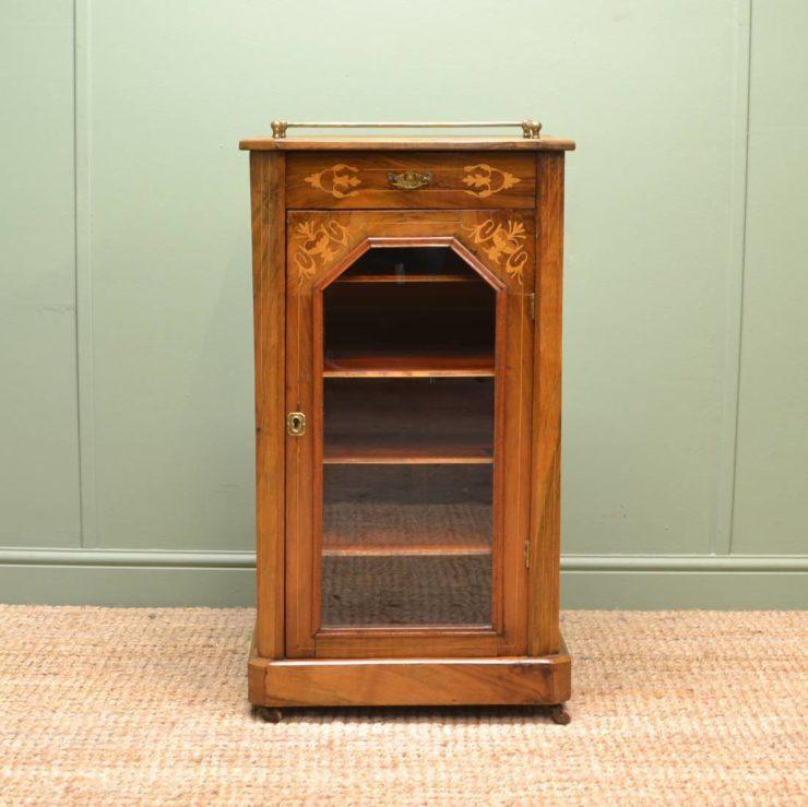 Beautifully Inlaid Figured Walnut Victorian Antique Music / Display Cabinet